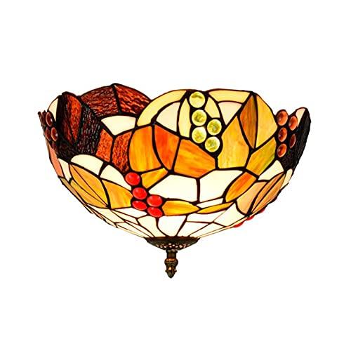 Lámpara de techo con cuentas de cristal estilo tiffany, lámpara de techo con decoración de uva y vidrieras pastorales europeas, montaje empotrado, accesorio de iluminación colgante de 12 Pulgadas,A