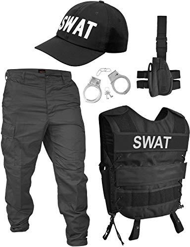 normani Fashingskostümset SWAT Set mit Weste, Rangerhose, Cap, Handschellen und Holster Größe L/Links