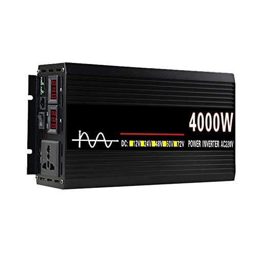 FDQNDXF Inversor de Corriente 3000W / 4000W / 4500W Inversor de Onda Sinusoidal Pura DC 12V / 24V a AC 220V Convertidor de Automóvil Inversores Solares con Pantalla LED, para Exteriores