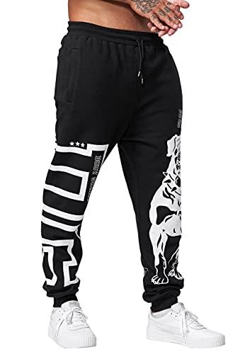 Code47 Pantalones de chándal para hombre, pantalones de entrenamiento, pantalones básicos, deportivos, fitness, gimnasio, entrenamiento, ajustados, a rayas, perro, Negro , S