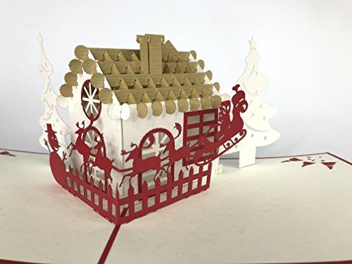Kerstkaart: Kerstman Naast een huisje