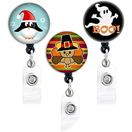 Ghost Halloween  keychain or necklace or retractable ID badge clip Free shipping Gift