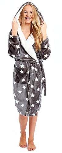 Slumber Hut® Ladies and Girls Dressing Gown Grey Star Hooded Fleece Luxury Robe - Matching Womens Childrens Sizes - Child UK 13 Years