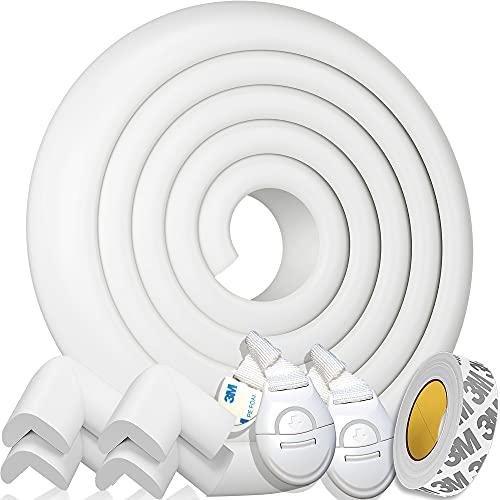 HAPPY CHLEA® Kit Protector Para Esquinas y Bordes | Juego de 4 Cantos Protectores y 1 Rollo, Cobertura Total de 2,4 M | Kit de la Seguridad del Niño en la Casa + 2 Cierre de Seguridad (Marfil Blanco)