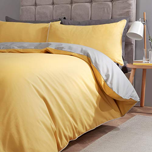 Piped Edged Reversible Bedding Set -Ochre -Double Duvet Cover Set and Pillowcases