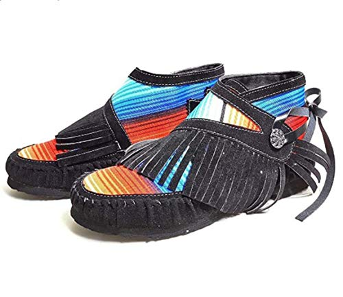 heelchic Women's Retro Fringe Ankle Booties Tassel Boots Ladies Cowgirl Martin Flats Boots Black
