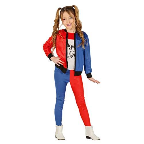 Guirca- The Joker Kostüm für Harley Quinn 5-6 Anni, Farbe Weiß, Rot, Blau und Schwarz, GU88450