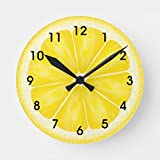 Yellow Lemon Citrus Fruit Wall Clock Non Ticking Silent Small Wood Clock Battery Operated 10 inches