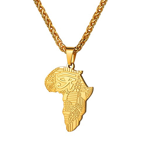 U7 18K Gold Plated, The Eye of Horus, Africa Map Pendant & Wheat Chain Necklace, Stainless Steel Wedjat Eye Ancient Egypt Jewelry Necklace, GP3430K