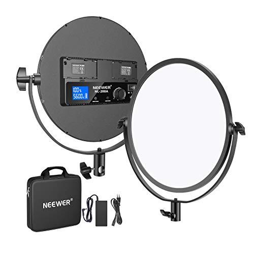 """Neewer 10,6"""" Video Luce LED Bicolore Rotonda Metallica 30W 3200-5600K CRI95+ LCD Display Dimmerabile Flapjack Luce da Studio, Luce Soffusa, con Portabatterie, Adattatore AC (Batteria NON Inclusa)"""