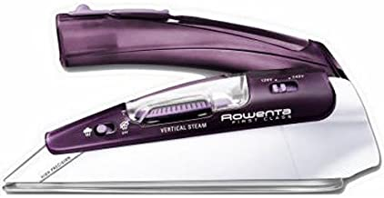 Rowenta DA1560 Travel-Ready 1000-Watt Compact Steam Iron Stainless Steel Soleplate 120-Volt and 240-Volt, 200-Hole, Purple