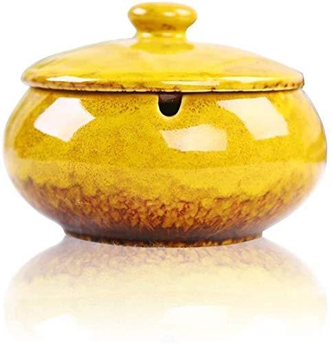 Milu deer Posacenere, posacenere Antivento in Ceramica con Coperchio, posacenere Fumatore, posacenere in Ceramica retrò Fatta a Mano per casa Ufficio Decorazione d'interni (Color : Yellow)