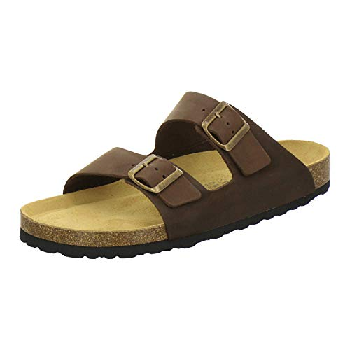 AFS-Schuhe 3100 Bequeme Pantoletten für Herren Leder, Hausschuhe Arbeitsschuhe, Made in Germany (42 EU, Braun/Tabak)