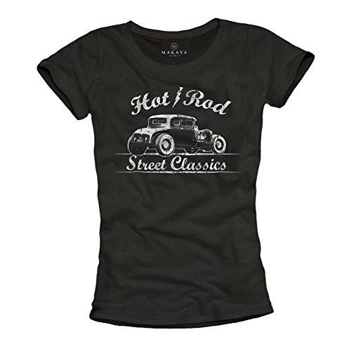 MAKAYA Ropa rockera Mujer - Camiseta Negra Estampada Hot Rod - M
