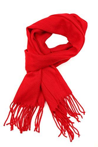Sakkas 1590 -Booker Kaschmir fühlen feste farbige Unisex Winter-Schal mit Fransen - Rot - One Size Regular