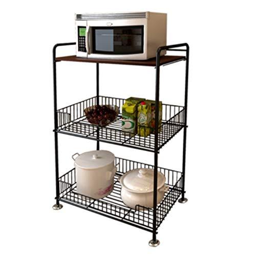 NAN Liang 3 - Tier Küchenwagen mit Holzplatte und Ablagekörben   Chrom -59,5 x 37,5 x 93,5 cm Nicht rosten (Farbe : Nussbaum)