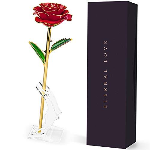 iNeego Rosa 24K, Rosa Eterna, Rosa de Oro 24K Chapadas en Oro con Base Soporte Transparente y Caja de Regalo para San Valentín, Día de Madre, Mujer, Novia, Esposa, Aniversario, Cumpleaños Regalo
