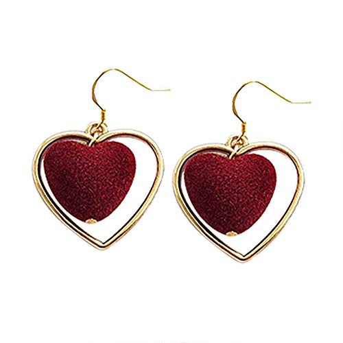 Demarkt 1 par de pendientes con forma de corazón, color rojo vino, tamaño 7,4 cm x 7,4 cm.