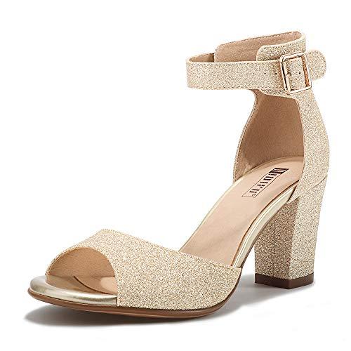 IDIFU Women's Candie-MI Peep Toe Low Block Heels Sandals Ankle Strap Comfy Chunky Wedding Dress Shoes (Gold Glitter, 7.5 M US)