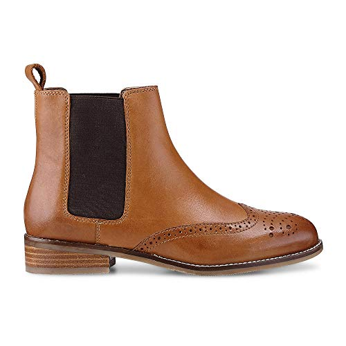 Cox Damen Damen Chelsea-Boots aus Leder, Stiefeletten in Braun mit stylischer Lyra-Lochung Braun...