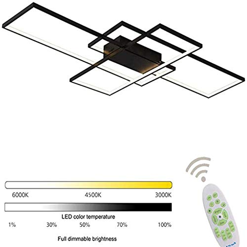 LKSS LED dimbare plafondlamp moderne hoekige designer afstandsbediening verlichting metalen acryl design plafondlamp verlichting slaapkamer decorlamp [energieklasse A ++],Black,110cm