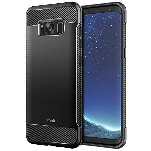 JETech Hülle Kompatibel mit Galaxy S8, Handyhülle Case Cover Schutzhülle mit Stoßdämpfung und Kohlefaser, Schwarz
