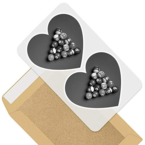Awesome 2 x Heart Stickers 7.5 cm - BW - Pool Table Snooker Balls Fun Decals for Laptops,Tablets,Luggage,Scrap Booking,Fridges,Cool Gift #37381