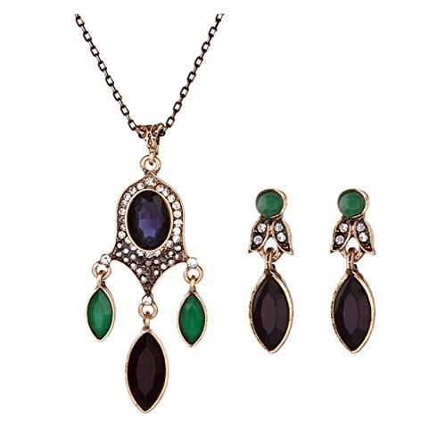 DSJTCH Europa y los Estados Unidos Nueva Cadena Tipo es Estilo de dominio Colorido Diamante Gema Colgante Collar Anillo Oreja Conjunto de Joyas (Color : Purple)