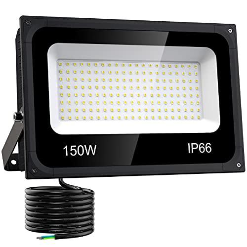 Olafus 150W LED Strahler, 15000LM Superhell LED Fluter 5000K Tageslichtweiß LED Scheinwerfer Außen, IP66 Wasserdicht LED Aussenstrahler Flutlicht Aussenbeleuchtung für Hof, Garage, Sportplatz usw