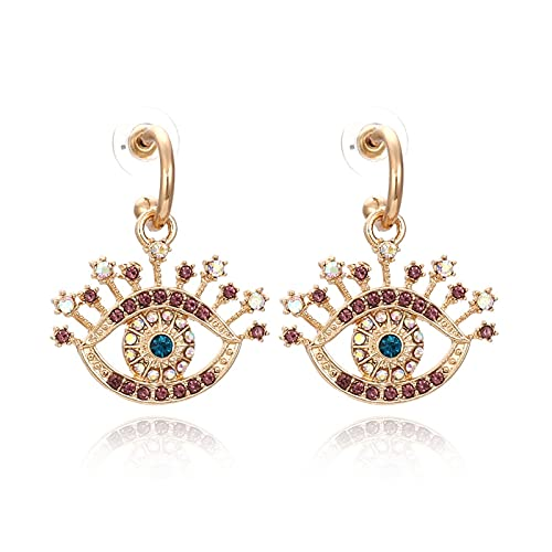 YHQKJ Pendientes Perforados de Ojo de Ojos simbólicos para Mujer, Pendientes de Diamantes de Color Vintage y Tono, para Mujeres niñas joyería del oído delicados (Color : Coffee)