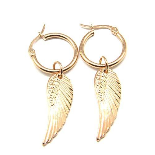 Earrings Women Studs Gold Stainless Steel Angel Wings Dangle Earringgolden Stainless Steel Fashion Simple Pendants For Men Boy Fashion Feathers Earring Punk Cool Male Jewelry-Gold