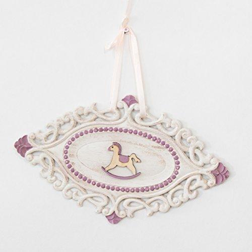 Verspieltes Vintage Holzschild mit Schaukelpferd in Weiß/Rosa