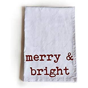 Customer reviews Amore Beaute Handcrafted Cotton Tea Towel - Merry & Bright -Kitchen Dish Towel -Holiday Kitchen Towel Linen -Christmas Gift Tea Towel -Christmas Gift Wrapping Cloth:Eventmanager