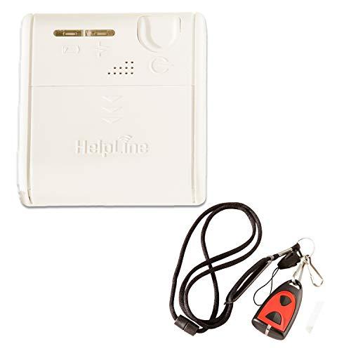 Helpline Mini: Kleiner mobiler Hausnotruf mit spritzwasserfestem Notrufsender und Gürtel Clip für die häusliche Pflege; Notrufsystem mit Funk Notruf Halsband; Notrufknopf Senioren; Pflegeruf Set