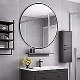 Rumcent - Espejo de pared con marco de metal redondo, tamaño grande, para...