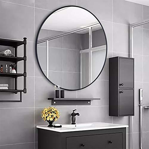 Rumcent - Espejo de pared con marco de metal redondo, tamaño grande, para salón o baño, 80 cm de diámetro, color negro