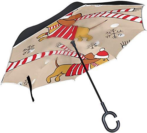 Paraguas invertido de lunares con copo de nieve para perro Dachshund de Navidad,mango en forma de C,a prueba de viento,a prueba de rayos UV,para viajes al aire libre,paraguas reversible para coche