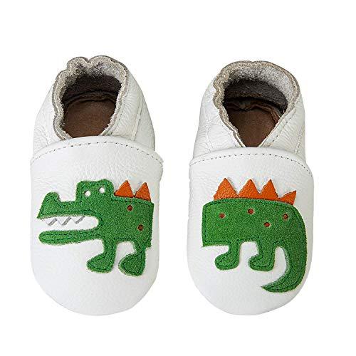 IceUnicorn Weiche Leder Babyschuhe Lauflernschuhe Krabbelschuhe Babyhausschuhe mit Wildledersohlen für Junge Mädchen Kleinkind(Weißes Krokodil,18-24)
