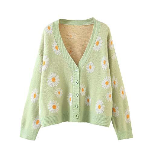 Damen Sweet Floral Cardigans Winter V-Ausschnitt Langarm Übergroße Pull Girls Y2k Vintage Strickpullover Pullover (Hellgrün, Einheitsgröße)