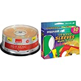 Maxell 625335 High-Sensitivity Recording Layer Recordable CD (Audio Only) 700mb/80 min & 190134 CD & DVD Paper Storage Envelope Sleeves with Clear Plastic Windows Multi-Color 50 Pack (Paper)