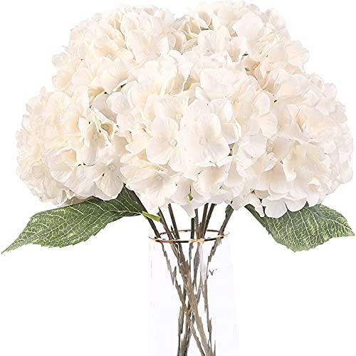 YYHMKB Flores Artificiales Flores de Hortensia de Seda con 5 Cabezas Grandes Ramo de Flores Falsas para la decoración del Banquete de Boda en casa DIYBlanco, 5 Cabezas de Flores