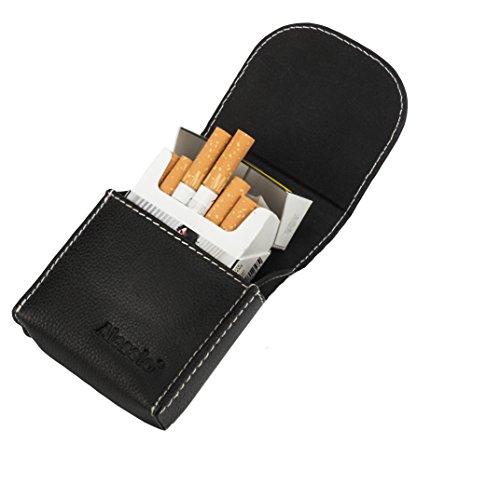 ALASSIO Zigarettenetui Rough Boy für Schachteln mit 21-25 Zigaretten, Zigarettenbox aus Echt Leder, Zigarettenschachtel Halter Geldbörsen, Ausweis- & Kartenhüllen 10 cm Schwarz