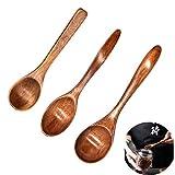 Yueser Cucchiaio di Legno Naturale, 3 Pezzi Eco-Friendly Cucchiaio di Zuppa di Legno con Manico Sottile per Tea Honey Coffee Cucchiaio Accessori Cucina(3 Taglie)