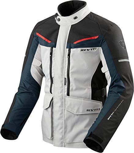 REV'IT! Motorradjacke mit Protektoren Motorrad Jacke Safari 3 Textiljacke Silber/blau 3XL, Herren, Enduro/Reiseenduro, Ganzjährig