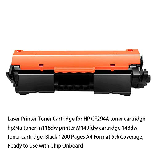 Laserdrucker Tonerkartusche für HP CF294A Tonerkartusche HP94A Toner m118dw Drucker M149fdw Kartusche 148dw Tonerkartusche, schwarz 1200 Seiten A4 Format 5% Abdeckung, gebrauchsfertig mit Chip Onboar