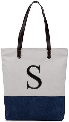 Embroidered Monogram Name Duotone Blue Women Casual Canvas Shoulder Bags Bag Messenger Bag Zipper Tote Bags
