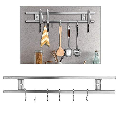 Ounona – Portacuchillos con barra magnética y 6ganchos extraíbles - mantiene Ios cuchillos organizados