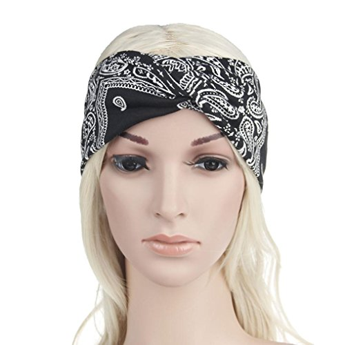 Egmy â¤ï¸ Women Yoga Sport Elastic Floral Hair Band Headband Turban Twisted Knotted (Black)