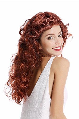WIG ME UP -91240-ZA340A/ZA24A Parrucca Donna Halloween Carnevale Mix Rosso e Castano Lunga Ondulata Riccia Cerchietto Intrecciato