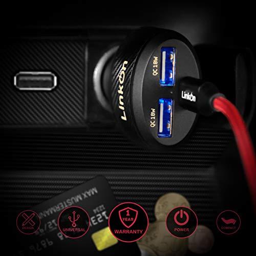 LinkOn 84W USB C Autoladegerät mit 60W PD3.0- und 18W QC3.0-Anschlüssen für MacBook Dell Lenovo HP ASUS Acer Samsung iPhone iPad Huawei FCP SCP Apple